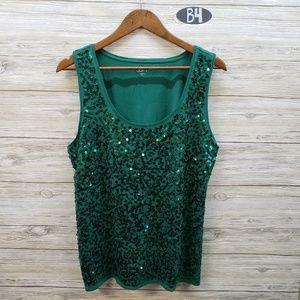Loft Emerald Green Sequin Tank Top
